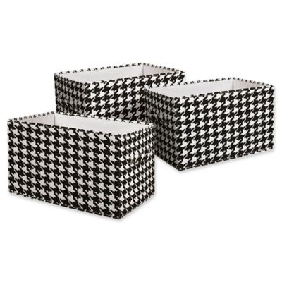 Lush Décor Houndstooth Collapsible Medium Storage Box In Black (Set Of 3)