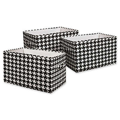 Lush Décor Houndstooth Collapsible Storage Box in Black (Set of 3)