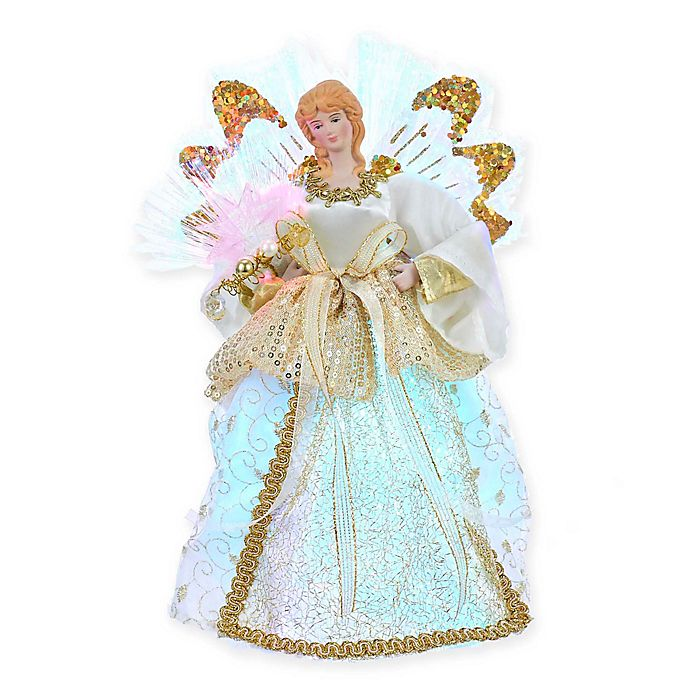"""12/"""" Gold and White LED Light Fiber Optic Angel Christmas Tree Topper"""