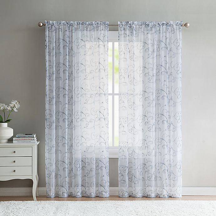 Alternate image 1 for VCNY Home Elizabeth Sheer 108-Inch Rod Pocket Window Curtain Panel in Blue