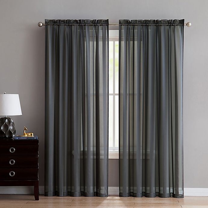 Alternate image 1 for VCNY Home Stefan Stripe Sheer 108-Inch Rod Pocket Window Curtain Panel in Grey