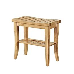 Linon Home Bracken 15-Inch Bamboo Stool with Shelf