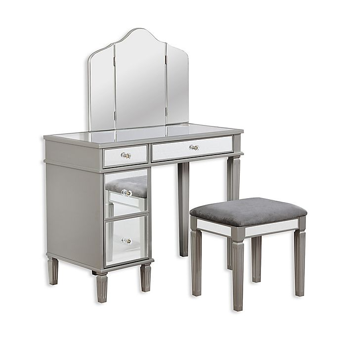 Linon Jackson Vanity Set With Mirror Reviews: Linon Home Audrey 2-Piece Mirrored Vanity Set In Grey