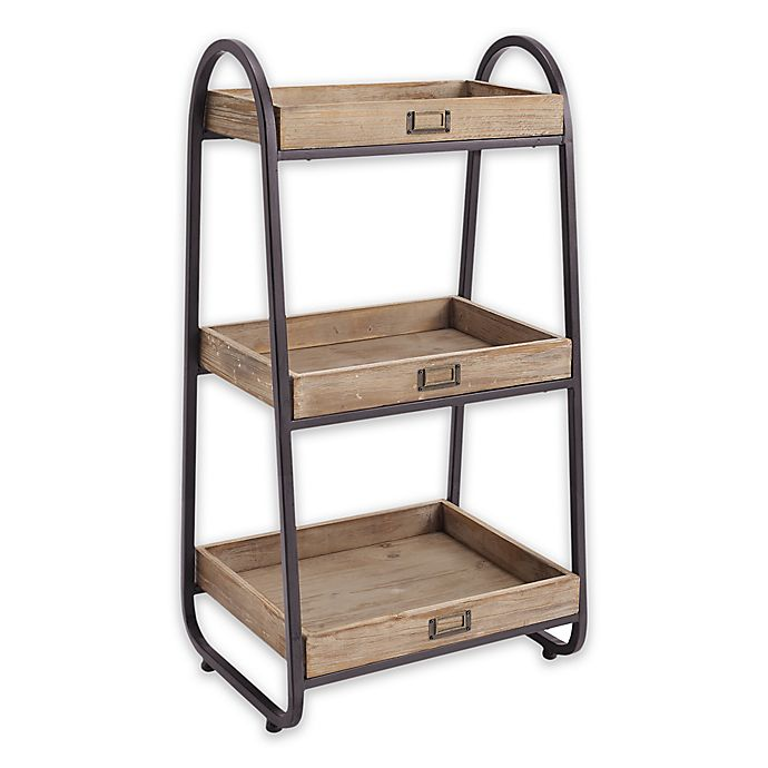 Linon Home 3 Tier Bath Stand In Rustic Brown Bed Bath Beyond