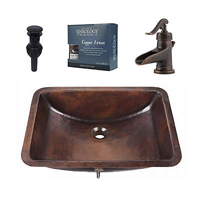 Sinkology SB206-21AG-F042 Curie All-in-One Copper Sink and Faucet Kit