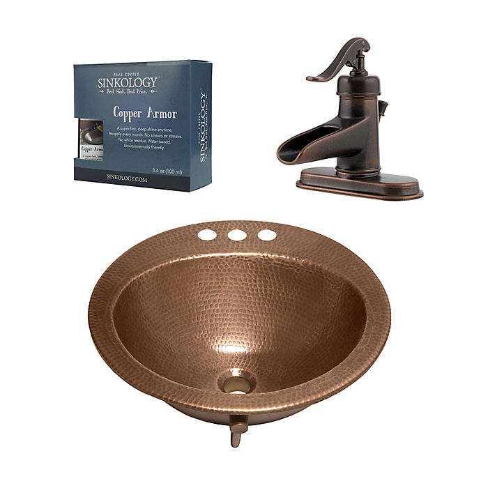 Alternate image 1 for Sinkolgy SB101-19AC-F042 All-in-One Copper Sink and Faucet Kit
