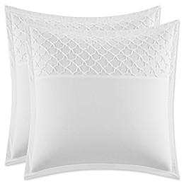 Stone Cottage Mosaic European Pillow Shams in White (Set of 2)