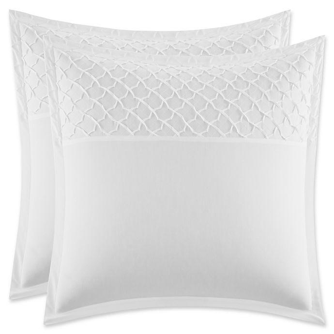 Alternate image 1 for Stone Cottage Mosaic European Pillow Shams in White (Set of 2)