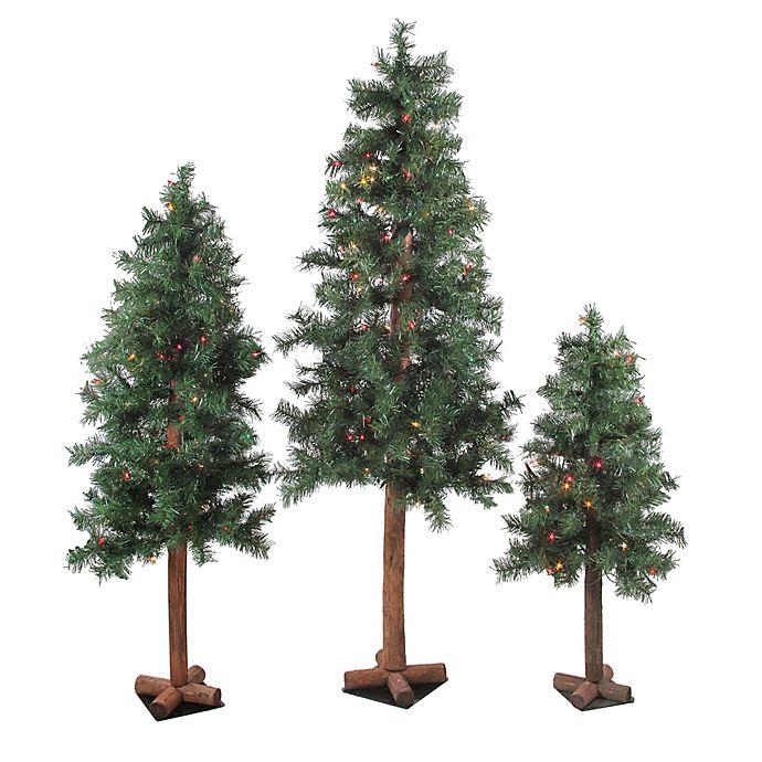 3 Pre Lit Christmas Tree.Alpine 3 Piece Pre Lit Christmas Tree Set With Multicolor