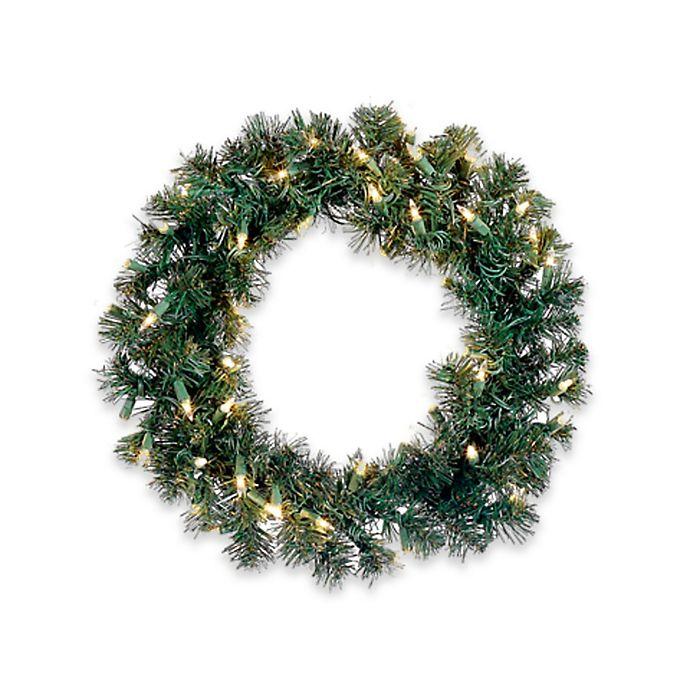 Allstate Pre-Lit 18-Inch Christmas Wreath | Bed Bath & Beyond