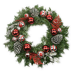 Northlight 24-Inch Pine Artificial Wreath in Red