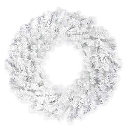 Northlight 30-Inch Canadian Pine Wreath in White