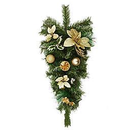 Northlight 32-Inch Unlit Teardrop Christmas Swag in Green