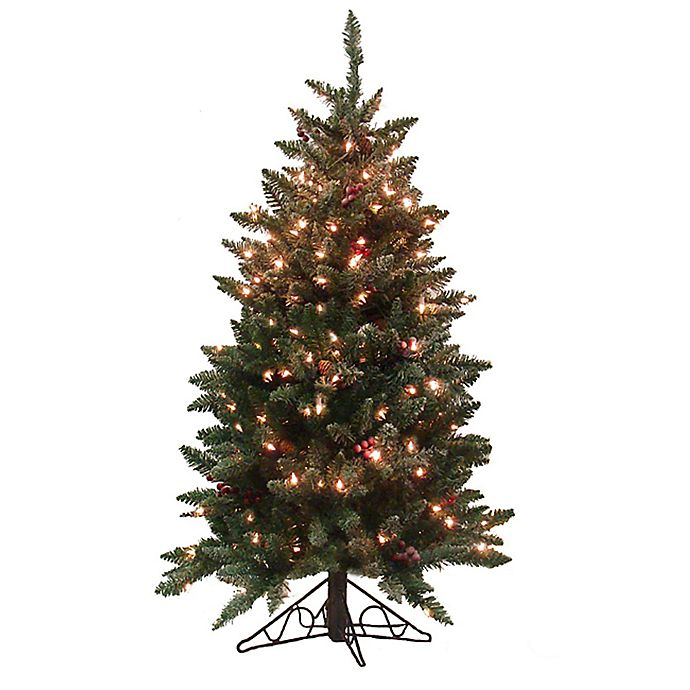 Alternate image 1 for Vickerman 4.5-Foot Frosted Edina Pre-Lit Artificial Christmas Tree with Clear Lights