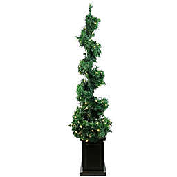 5-Foot Sculptural Helix Potted Artificial Christmas Tree with Clear Mini Lights