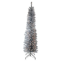 Northlight 6-Foot Tinsel Christmas Tree in Silver with Clear Mini Lights