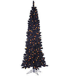 Allstate 6-1/2-Foot Pre-Lit Artificial Halloween Holiday Tree in Black