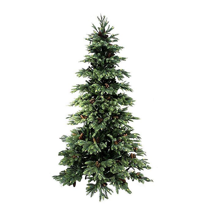 7 Foot New England Pine Pre Lit Artificial Christmas Tree With Clear