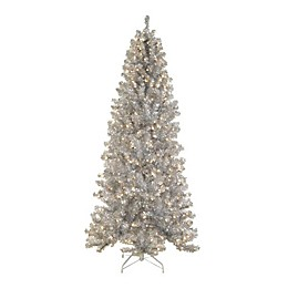 Allstate 7-1/2-Foot Pre-Lit Silver Noble Pine Artificial Christmas Tree