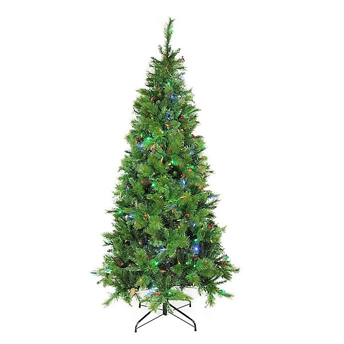 Multi Color Pre Lit Christmas Trees: 7.5-Foot Mixed Pine Pre-Lit Artificial Christmas Tree With