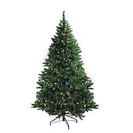 Northlight 7.5-Foot Pre-Lit Tapered Artificial Christmas Tree in Green with Clear LED Lights