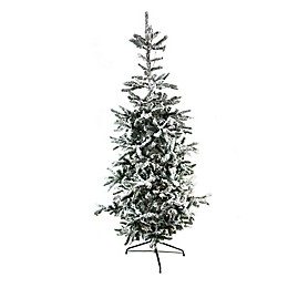 Northlight 7.5-Foot Flocked Noble Fir Pre-Lit Artificial Christmas Tree with Clear Lights