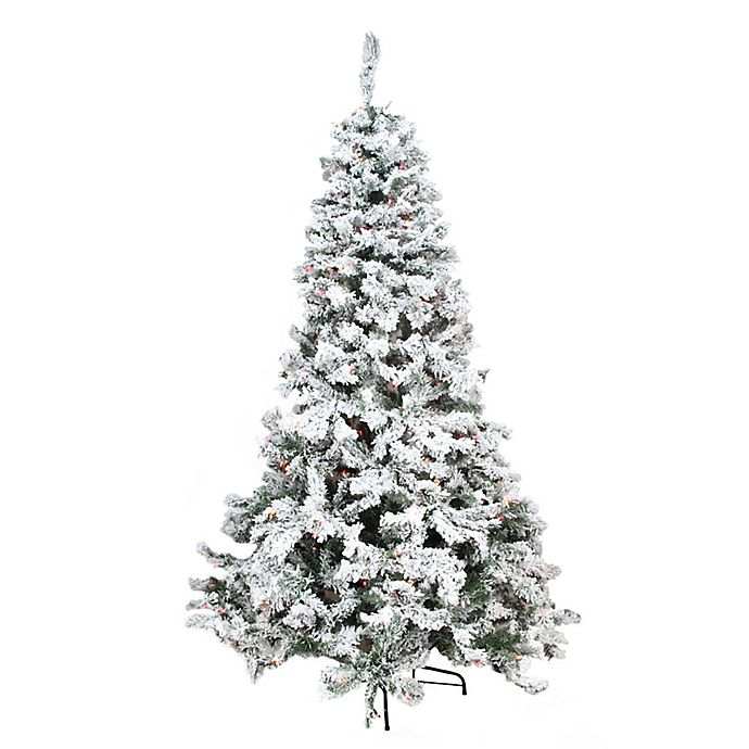 8 Ft Flocked Christmas Tree: Northlight 9-Foot Pre-Lit Heavily Flocked Pine Artificial