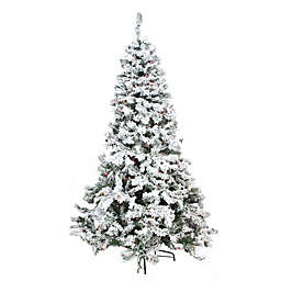 Northlight 9-Foot Pre-Lit Heavily Flocked Pine Artificial Christmas Tree with Multicolor Lights