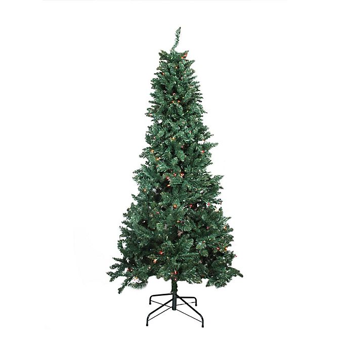 Alternate image 1 for Northlight 9-Foot Pre-Lit Slim Pine Artificial Christmas Tree with Multicolor Lights