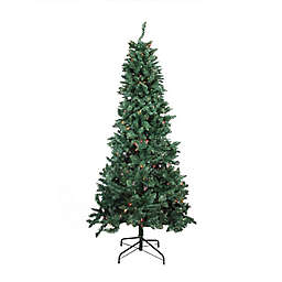 Northlight 9-Foot Pre-Lit Slim Pine Artificial Christmas Tree with Multicolor Lights