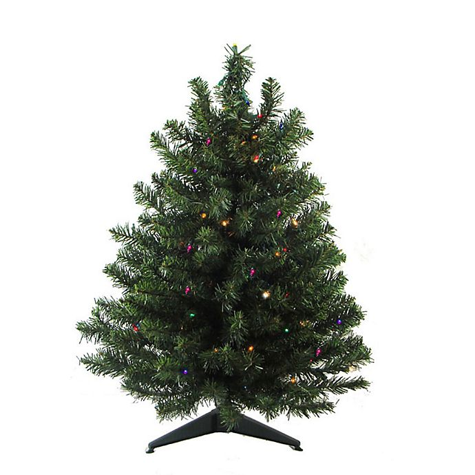 18 inch 2 tone artificial pre lit christmas tree with multicolor led lights