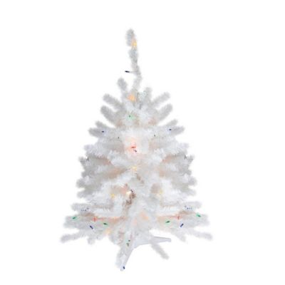 18 inch artificial pre lit christmas tree in white with multicolor lights bed bath beyond
