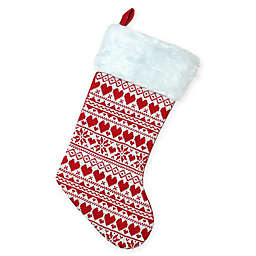 Northlight Knit Christmas Stocking with Faux Fur Cuff in Red/White
