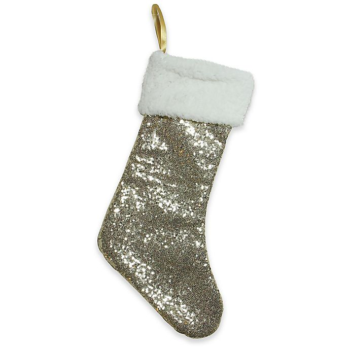 Alternate image 1 for Northlight Gilded White Christmas Stocking in Gold