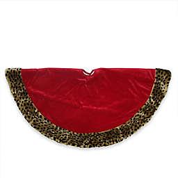 Red Velveteen Christmas Tree Skirt with Cheetah Print Border