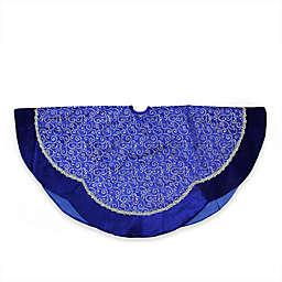 Blue Swirl Scallop Christmas Tree Skirt with Metallic Trim