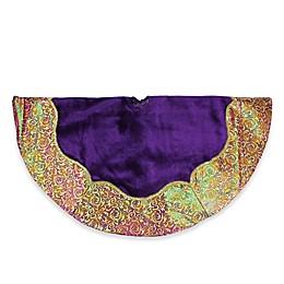 Purple Velvet Christmas Tree Skirt with Gold Flourish Print Trim