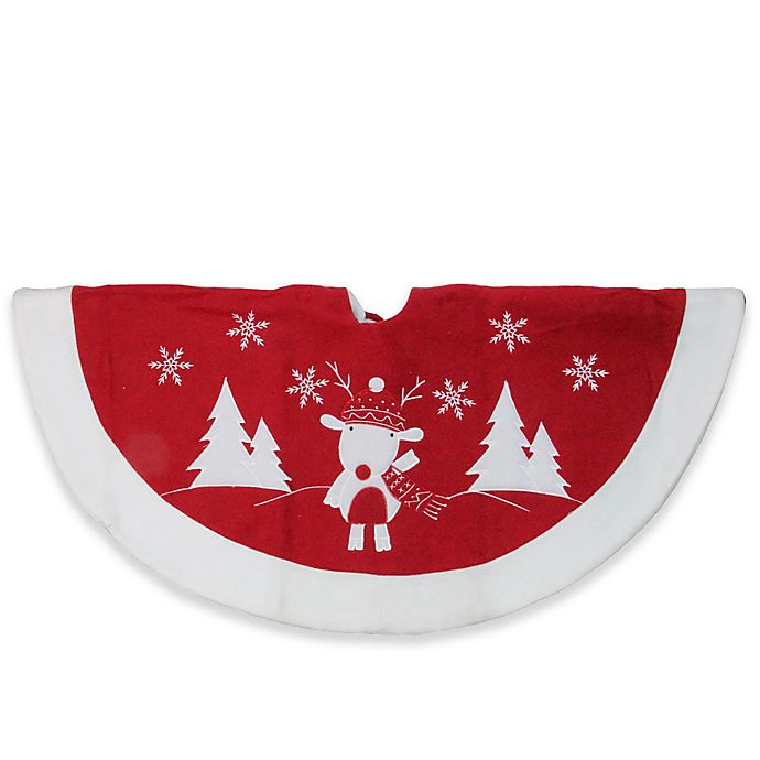 Alternate image 1 for Northlight Embroidered Reindeer Christmas Tree Skirt