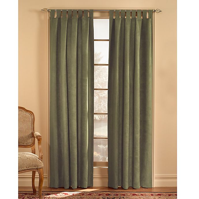 Alternate image 1 for Microsuede 120-Inch Rod Pocket Window Curtain Panel in Green