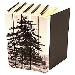 Leather Books 1826 Strutt Trees Re-Bound Decorative Books in White (Set of 5)