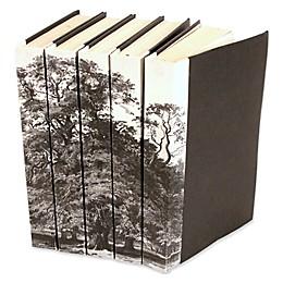 Leather Books 1826 Strutt Trees Re-Bound Decorative Books in Black/White (Set of 5)