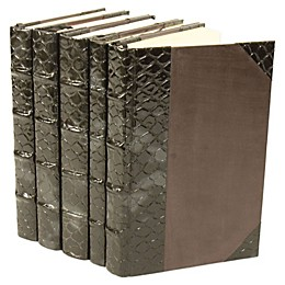 Leather Books Spotted Fish Re-Bound Decorative Books (Set of 5)