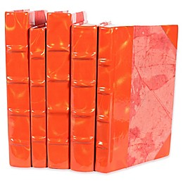 Leather Books Prismatic Patent Leather Re-Bound Decorative Books in Orange/Gold (Set of 5)