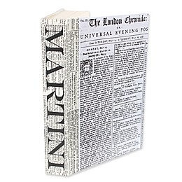 Leather Books Martini Newsprint Re-Bound Decorative Book