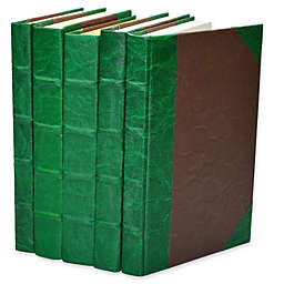 Leather Books Leather Texture Parchment Re-Bound Decorative Books (Set of 5)