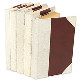 Leather Books Rebound Decorative English Novels in White (Set of 5)