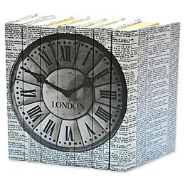 Leather Books Vintage Newsprint London Clock Re-Bound Decorative Books in Black (Set of 7)