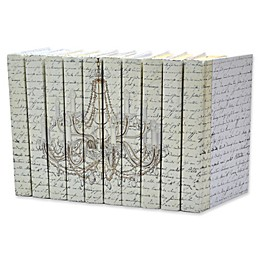 Leather Books English Novels Crystal & Gold Chandelier Re-bound Decorative Books (Set of 10)