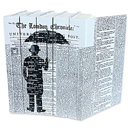 Leather Books English Novels Man With Umbrella Re-bound Decorative Books in Black (Set of 5)
