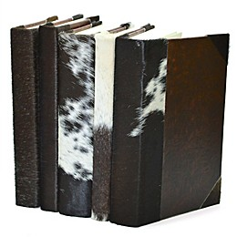 Leather Books Rebound Cow Hide English Novels in Brown (Set of 5)